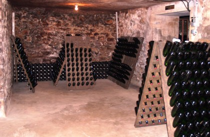 Champagne riddle racks in the cellars of Xavier Alexandre